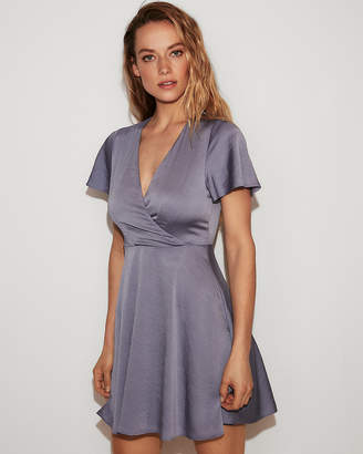 Express Satin Surplice Flutter Sleeve Fit And Flare Dress