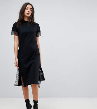 Asos Tall Midi T-Shirt Dress With Lace Insert