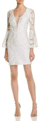 Aqua Bell-Sleeve Damask Dress - 100% Exclusive