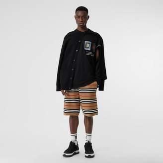 Burberry Icon Stripe Merino Wool Drawcord Shorts
