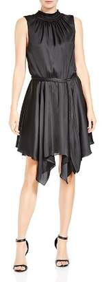 Halston Shirred Handkerchief Hem Dress