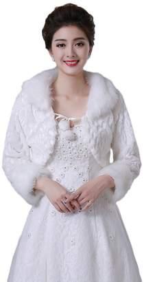 Oncefirst Ivory Faux Fur Bridal Wedding Shawl