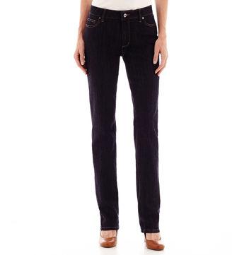 LIZ CLAIBORNE Liz Claiborne City-Fit Straight-Leg Jeans - Tall $29.99 thestylecure.com