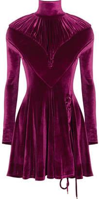 Ruched Velour Turtleneck Mini Dress - Plum