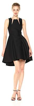 Halston Women's Sleeveless Round Neck Silk Faille Dress with Cut Outs