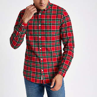 River Island Red check wasp embroidered long sleeve shirt