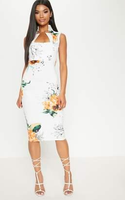 PrettyLittleThing White Floral Collar Detail Midi Dress