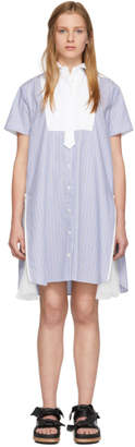 Sacai Blue and White Stripe Shirting Side Pleats Dress