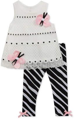 265095326b748 Rare Editions Little Girls 2-Pc. Butterfly Lace Tunic & Zebra-Print Leggings