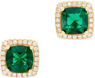 Diamonique Simulated Gemstone Halo Stud Earrings, Boxed