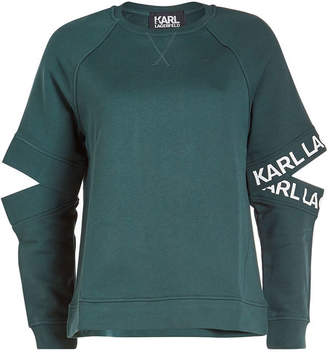 Karl Lagerfeld Cotton Sweatshirt with Cut-Out Detail