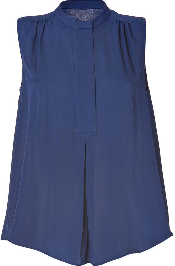 Joseph Royal Blue Sleeveless Silk Crepe de Chine Lydie Top