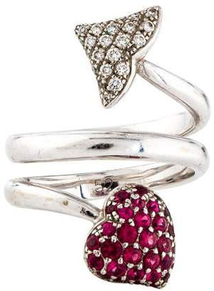 Christian Dior 18K Spinel & Diamond Arrows & Hearts Ring