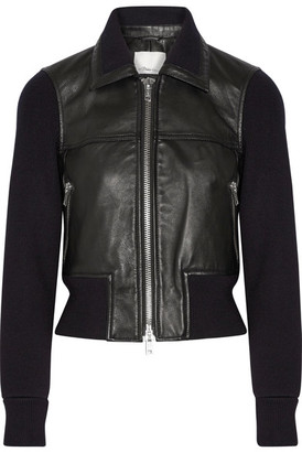 3.1 Phillip Lim - Paneled Ribbed Stretch-wool And Leather Jacket - Black $1,195 thestylecure.com