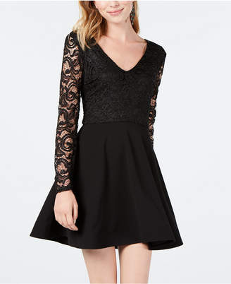 B. Darlin Juniors' Lace Long-Sleeve Fit & Flare Dress