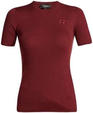 Rochas Logo-appliqué ribbed wool sweater