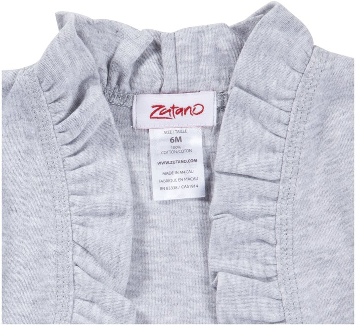Zutano Heathered Solid Ruffle Cardigan - Gray-6 Months