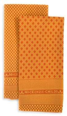 Mackenzie Childs Pheasant Run Two-Piece Dish Towel Set