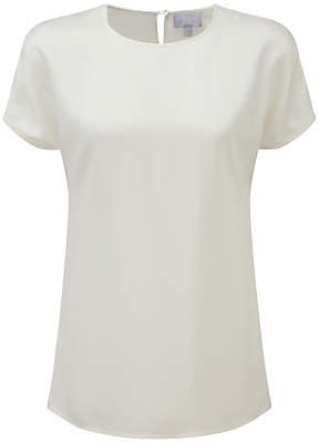 at John Lewis Pure Collection Silk Satin T-Shirt, Ivory