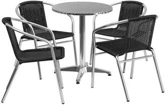 "Flash Furniture 23.5"" Round Aluminum Indoor-Outdoor Table with 4 Rattan Chairs, Multiple Colors"