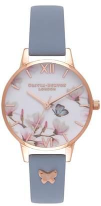 Olivia Burton Pretty Blossom Leather Strap Watch, 30mm