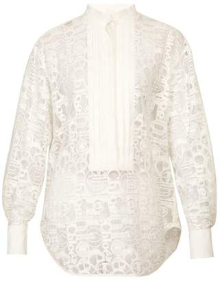 Chloé Logo Embroidered Cotton Blend Blouse - Womens - Ivory