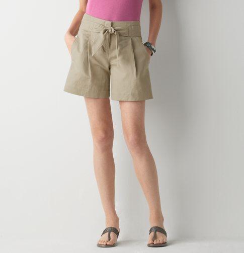 Textured Linen Cotton Shorts with Waist Tie