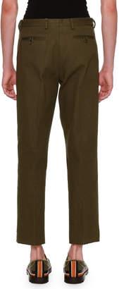 Valentino Textured Straight-Leg Pants, Olive