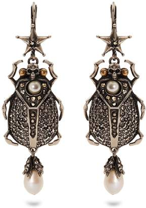Crystal-embellished beetle-drop earrings Alexander McQueen TirbZUvoo