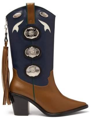 Toga Two Tone Leather Cowboy Boots - Womens - Khaki Multi