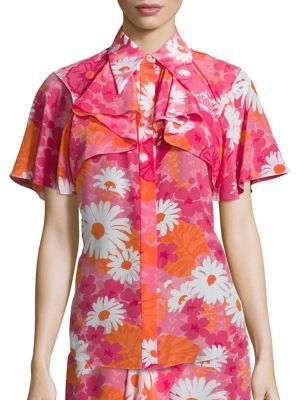 Michael Kors Collection Floral Button Front Top