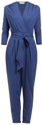 PAISIE - Peg Leg Wrap Jumpsuit With Tie Waist In Blue