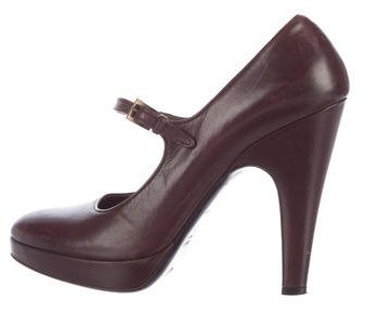 prada Prada Leather Mary Jane Pumps