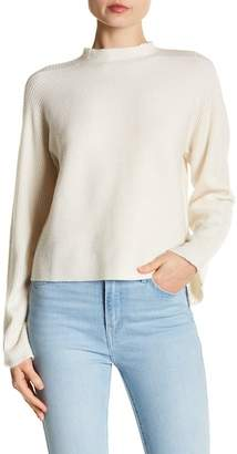 Minnie Rose Ribbed Mock Neck Bell Sleeve Cashmere Sweater