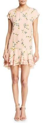 Joie Coreen Round-Neck Floral-Print Silk Shift Dress with Flounce Hem