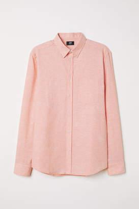 H&M Slim Fit Linen-blend Shirt - Orange