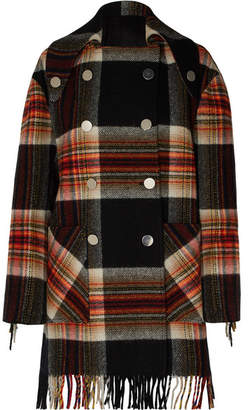 Calvin Klein Pendleton Double-breasted Fringed Checked Wool Coat - Black