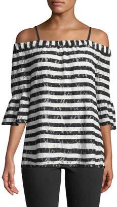 Karl Lagerfeld Paris Off-The-Shoulder Lace-Striped Blouse