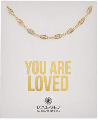 Dogeared You Are Loved 14K Over Silver Filigree Chain Choker