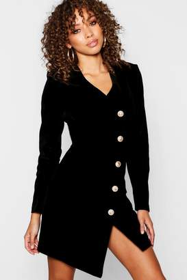 boohoo Velvet Military Button Asymmetric Hem Blazer Dress
