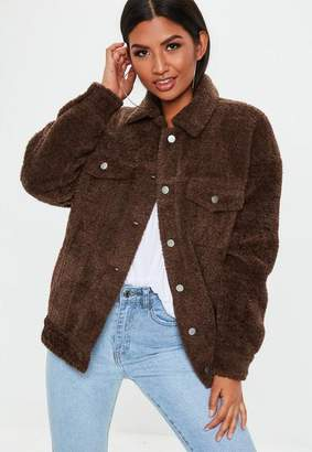 Missguided Brown Oversized Borg Trucker Jacket