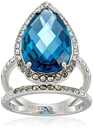 Judith Jack Sterling Silver/Swarovski Marcasite Blue Pear Shaped Ring, Size 7 $135 thestylecure.com