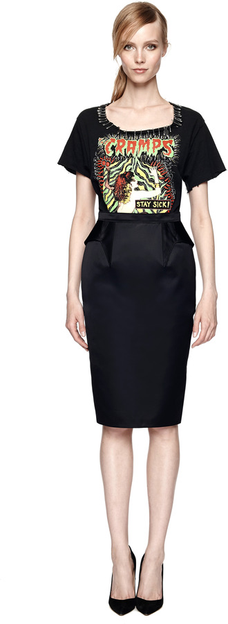 Givenchy Ruffled Back Duchesse Satin Pencil Skirt
