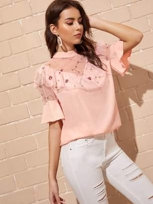 Shein Contrast Mesh Embroidery Blouse