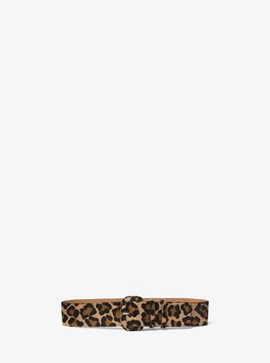 Michael Kors Leopard Calf Hair Wide Belt