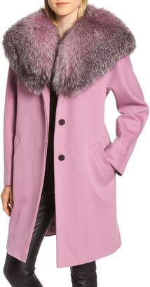 Fleurette Wool Cocoon Coat with Genuine Fox Fur Collar