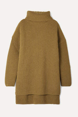 Joseph Oversized Ribbed Merino Wool Turtleneck Sweater - Light brown