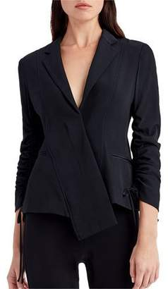 Jason Wu Asymmetric-Placket Ruching-Sleeve Crepe Jacket