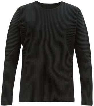 Issey Miyake Homme Plissé Homme Plisse Pleated Long Sleeve T Shirt - Mens - Black