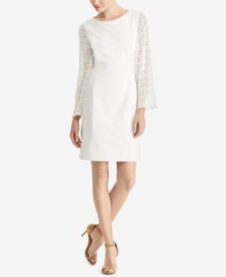 American Living Lace-Sleeve Shift Dress